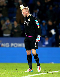 Kasper Schmeichel of Leicester City celebrates the victory over West Ham United - Mandatory by-line: Robbie Stephenson/JMP - 31/12/2016 - FOOTBALL - King Power Stadium - Leicester, England - Leicester City v West Ham United - Premier League