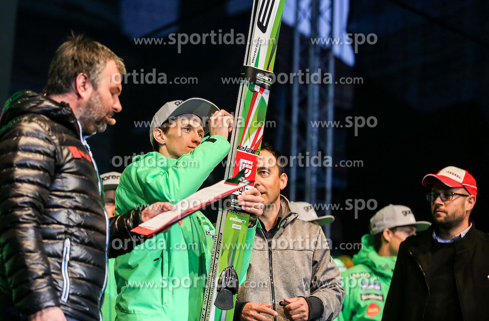Peter Prevc with his skis for Botrstvo during reception of Slovenian Winter athletes after the end of season 2015/16, on March 22, 2016 in Kongresni trg, Ljubljana, Slovenia. Photo by Matic Klansek Velej / Sportida
