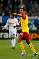 Fotball<br /> Frankrike<br /> Foto: Dppi/Digitalsport<br /> NORWAY ONLY<br /> <br /> FOOTBALL - FRENCH CHAMPIONSHIP 2010/2011 - L1 - OLYMPIQUE MARSEILLE v RC LENS - 13/11/2010<br /> <br /> JOY EDUARDO (LEN) AFTER HIS GOAL