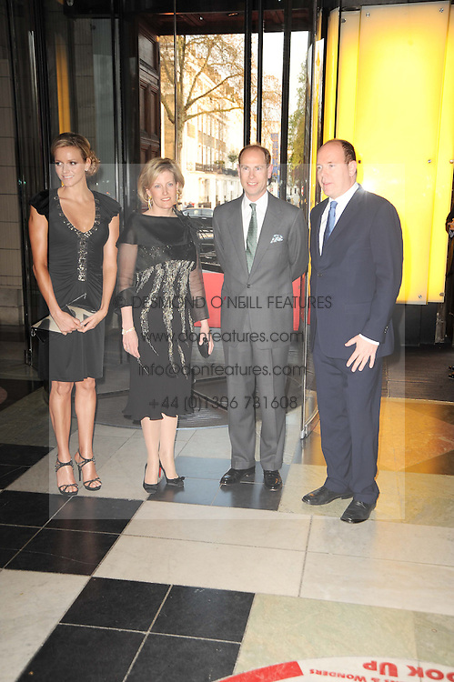 Left to right, CHARLENE WITTSTOCK, TRH the EARL & COUNTESS OF WESSEX and His Serene Highness PRINCE ALBERT OF MONACO  at the opening of the Victoria & Albert Museum's latest exhibition 'Grace Kelly: Style Icon' opened by His Serene Highness Prince Albert of Monaco at the V&A on 15th April 2010.