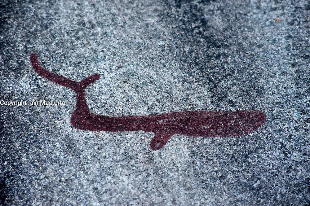 ancient Bronze Age rock carving at Vitlycke on Tanum plain in Sweden