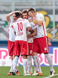 07.05.2016, Red Bull Arena, Salzburg, AUT, 1. FBL, FC Red Bull Salzburg vs SK Puntigamer Sturm Graz, 34. Runde, im Bild Torjubel Salzburg nach dem 1:0 durch Valon Berisha (Red Bull Salzburg), Konrad Laimer (Red Bull Salzburg), Christian Schwegler (Red Bull Salzburg), Duje Caleta Car (Red Bull Salzburg) // Goal Celebration Salzburg after Valon Berisha (Red Bull Salzburg) scores the Opening Goal during Austrian Football Bundesliga 34th round Match between FC Red Bull Salzburg and SK Puntigamer Sturm Graz at the Red Bull Arena, Salzburg, Austria on 2016/05/07. EXPA Pictures © 2016, PhotoCredit: EXPA/ JFK