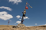 Mongolia. Ulaanbaatar. ovo, buddhist chamanist monument, on the road to Darhan , just outside UB  Ulan Baatar ULN -     / ovo, monument bouddhiste chamanique  sur la route de Darhan a la sortie de Oulan Bator  Oulan Bator - Mongolie