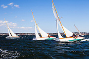 Firefly, Surprise, and Argument, Herreshoff S Class, sailing in the Museum of Yachting Classic Yacht Regatta.