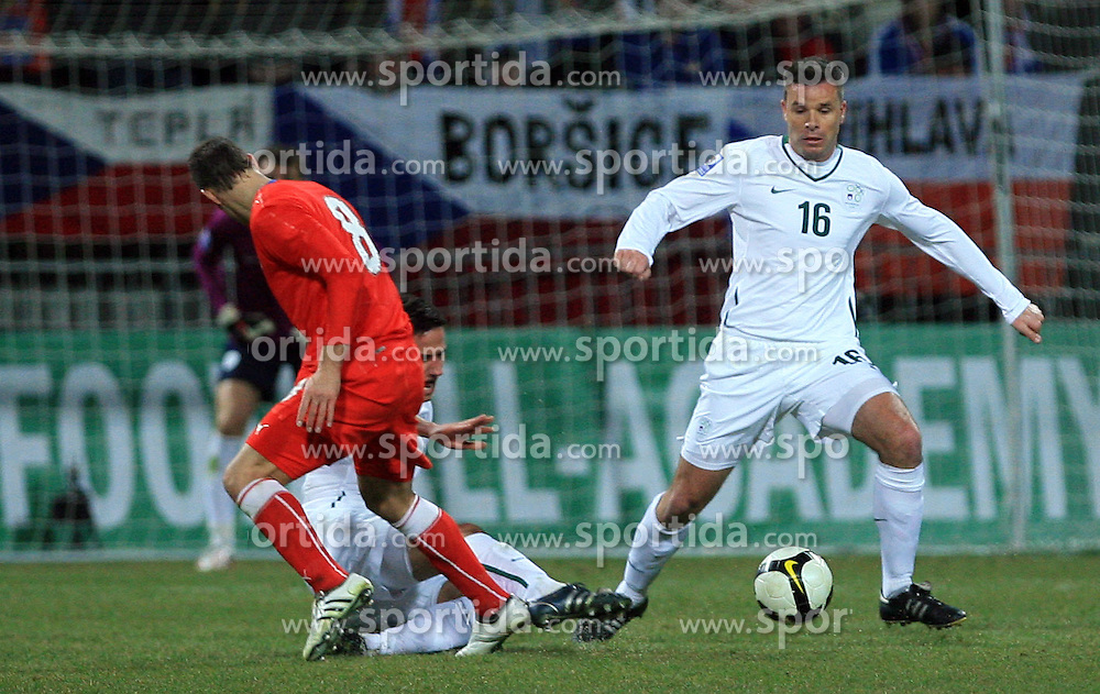 Zlatan Ljubijankic, Anton Zlogar at the 8th day qualification game of 2010 FIFA WORLD CUP SOUTH AFRICA in Group 3 between Slovenia and Czech Republic at Stadion Ljudski vrt, on March 28, 2008, in Maribor, Slovenia. Slovenia vs Czech Republic 0 : 0. (Photo by Vid Ponikvar / Sportida)