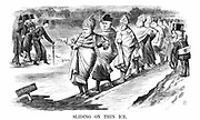 English converts to Rome including Newman, skating on thin ice while, on left, Pusey and his Anglo-Catholic 'Ritualistic' friends test the ice before committing themselves. John Tenniel cartoon from 'Punch' London 1869.