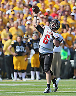 August 31 2013: Northern Illinois Huskies quarterback Jordan Lynch (6) passes the ball during the first quarter of the NCAA football game between the Northern Illinois Huskies and the Iowa Hawkeyes at Kinnick Stadium in Iowa City, Iowa on August 31, 2013. Northern Illinois defeated Iowa 30-27.