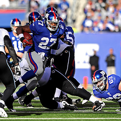 Running back Brandon Jacobs #27 of the New York Giants runs the ball during NFL football action between the New York Giants and Jacksonville Jaguars on Nov. 28, 2010 at MetLife Stadium in East Rutherford, N.J.