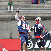 Paul Rabil #99 of the Boston Cannons celebrates a goal during the game at Harvard Stadium on April 27, 2014 in Boston, Massachusetts. (Photo by Elan Kawesch)