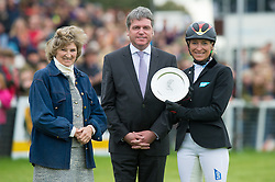 Ingrid Klimke receives the Silver Jubilee Challenge Plate  from Lance Bradley, Managing Director of Mitsubishi Motors UK and Miranda, Duchess of Beaufort<br /> Mitsubishi Motors Badminton Horse Trials - Badminton 2015<br /> © Hippo Foto - Jon Stroud