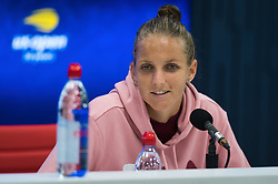 September 4, 2018 - Karolina Pliskova of the Czech Republic talks to the media after losing her quarter-final match at the 2018 US Open Grand Slam tennis tournament. New York, USA. September 04, 2018. (Credit Image: © AFP7 via ZUMA Wire)