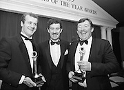 "28th Texaco Sportstar of the Year..1986..15.01.1986..01.15.1986..15th January 1986..At a banquet in the Burlington Hotel,Dublin, the presentation of awards for ""Sportstar"" of the Year were made. The presentation was carried out by the Tanaiste, Mr Dick Spring TD. The awards were made to the top ten sports people as selected by a panel of judges...Photo shows Kerrymen together..Mr Jack O'Shea ,Gaelic Football Award  Winner, the Tanaiste and Minister for Energy,Mr Dick Spring TD and Mr Mick Doyle Rugby Award Winner."