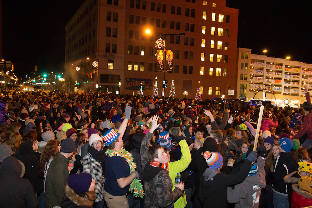 Crowds watching the fireworks at First Night Akron 2015