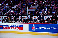 REGINA, SK - MAY 18: The Regina Pats' bench against the Hamilton Bulldogs at the Brandt Centre on May 18, 2018 in Regina, Canada. (Photo by Marissa Baecker/Shoot the Breeze)
