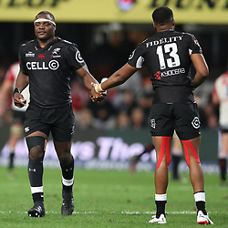 Chiliboy Ralepelle of the Cell C Sharks with Lukhanyo Am of the Cell C Sharks during the Vodacom Super Rugby match between the Cell C Sharks and the Emirates Lions the at Growthpoint Kings Park in Durban, South Africa. 15th July 2017(Photo by Steve Haag)
