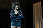 """Vanessa Bell Calloway, an actress who stars in Bounce TV's """"Saints and Sinners"""" and OHIO alumna, says a few words on stage at the Black Alumni Reunion Variety Show in Baker Ballroom on Saturday, September 17, 2016. ©Ohio University / Photo by Kaitlin Owens"""