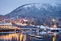 One of Maine's most beautiful views is even more stunning just before dawn after a fresh snowfall.