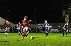Connor Lemonheigh-Evans of Bristol City equalises from the spot - Mandatory by-line: Paul Knight/JMP - 16/11/2017 - FOOTBALL - Woodspring Stadium - Weston-super-Mare, England - Bristol City U23 v Bristol Rovers U23 - Central League Cup