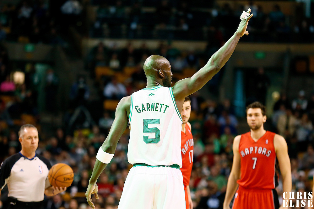 17 November 2012: Boston Celtics power forward Kevin Garnett (5) waives at a referee during the Boston Celtics 107-89 victory over the Toronto Raptors at the TD Garden, Boston, Massachusetts, USA.