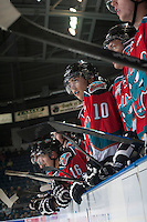 KELOWNA, CANADA - OCTOBER 7: Nick Merkley #10 of Kelowna Rockets stands on the bench against the Swift Current Broncos on October 7, 2014 at Prospera Place in Kelowna, British Columbia, Canada.  (Photo by Marissa Baecker/Getty Images)  *** Local Caption *** Nick Merkley;