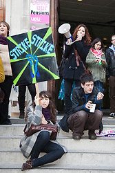© Licensed to London News Pictures. 30/11/2011. London, UK. Public Sector Strike in Central London. Picket line at London University. Photo credit: Bettina Strenske/LNP