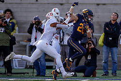 BERKELEY, CA - DECEMBER 01: Running back Patrick Laird #28 of the California Golden Bears is pushed out of bounds after a 62 yard run by safety Malik Antoine #3 of the Stanford Cardinal during the second quarter at California Memorial Stadium on December 1, 2018 in Berkeley, California. (Photo by Jason O. Watson/Getty Images) *** Local Caption *** Patrick Laird; Malik Antoine