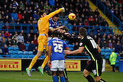 York City Goalkeeper Scott Flinders clears the cross during the Sky Bet League 2 match between Carlisle United and York City at Brunton Park, Carlisle, England on 23 January 2016. Photo by Craig McAllister.