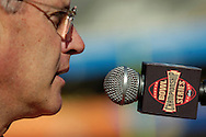 MORNING JOURNAL/DAVID RICHARD.Ohio State head coach Jim Tressel addresses the media at Sun Devil Stadium during media day Friday in Tempe, AZ.
