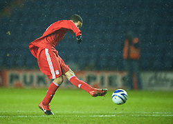 LEICESTER, ENGLAND - Tuesday, January 12, 2010: Liverpool's Thomas Ince scores the third goal against Leicester City during the FA Youth Cup 4th Round match at the Walkers Stadium. (Photo by David Rawcliffe/Propaganda)