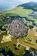 Nederland, Noord-Holland, Naarden, 05-08-2014; vesting Naarden. De vestingplaats, onderdeel van de Hollandse Waterlinie.<br /> The fortified town of Naarden, star-shaped historical fortress.<br /> luchtfoto (toeslag op standard tarieven);<br /> aerial photo (additional fee required);<br /> copyright foto/photo Siebe Swart