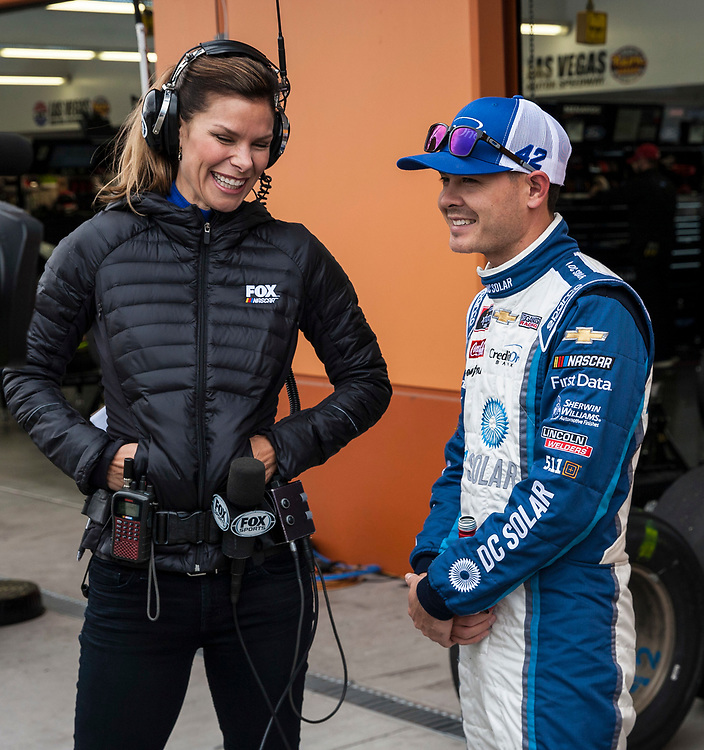 Mar 03, 2018 Las Vegas, NV  U.S.A.  # 42 Kyle Larson  with fox sports in Mechanic row during the Nascar  Pennzoil 400 qualifier  at Las Vegas Motor Speedway. Thurman James / CSM