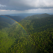 Rainbow over jungle river valley, Maya Mountain Forest Reserve, Toledo District, Belize
