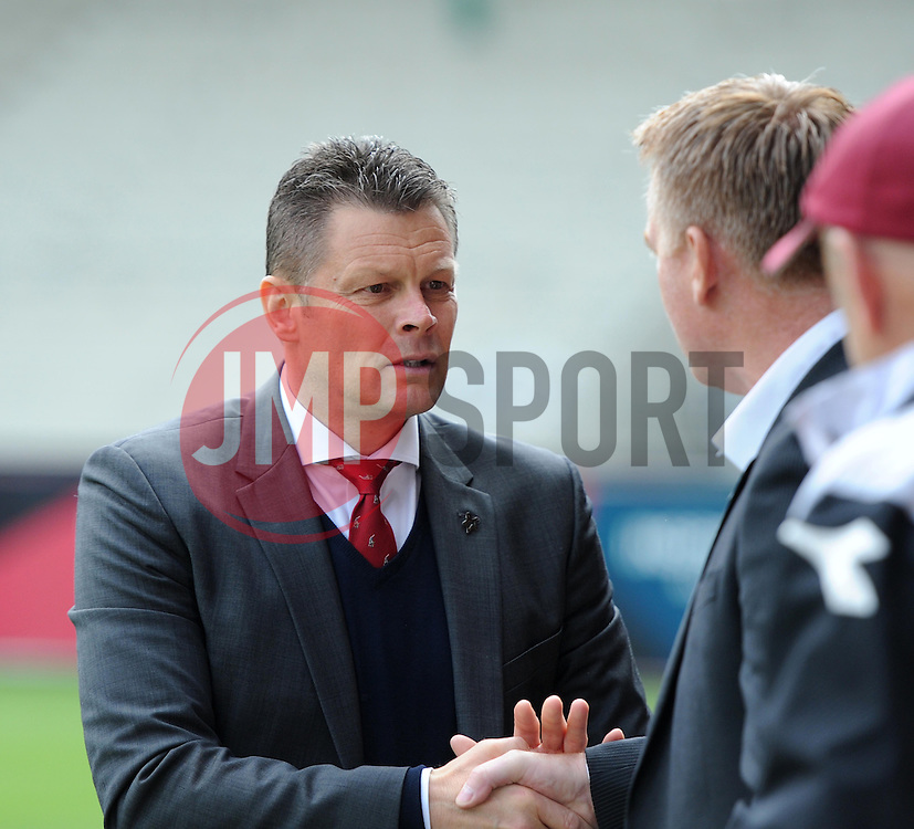 Bristol City manager Steve Cotterill greets Walsall Manager, Dean Smith - Photo mandatory by-line: Paul Knight/JMP - Mobile: 07966 386802 - 03/05/2015 - SPORT - Football - Bristol - Ashton Gate Stadium - Bristol City v Walsall - Sky Bet League One