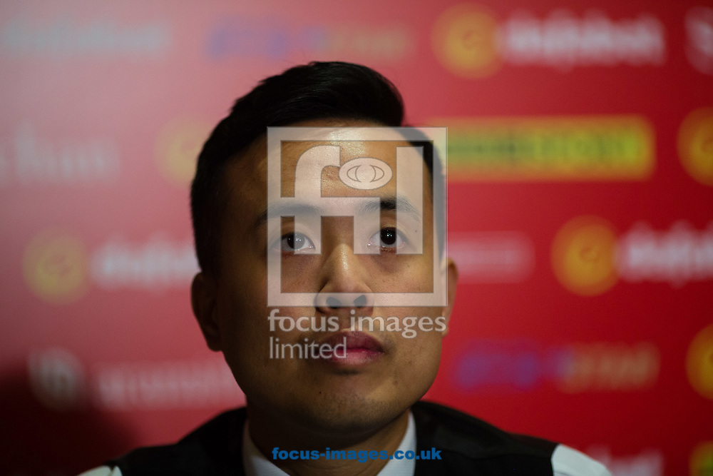 Marco Fu after losing 6-4 to Ronnie O'Sullivan during the semi-finals of the Dafabet Snooker Masters 2017 at Alexandra Palace, London<br /> Picture by Mark Chappell/Focus Images Ltd +44 77927 63340<br /> 21/01/2017