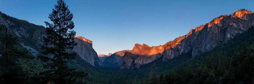 Super high resolution, composite panoramic wall mural of Yosemite National Park, CA