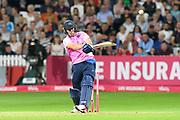 Wicket - A.B De Villiers of Middlesex plays an attacking shot and gets caught by Max Waller of Somerset during the Vitality T20 Blast South Group match between Somerset County Cricket Club and Middlesex County Cricket Club at the Cooper Associates County Ground, Taunton, United Kingdom on 30 August 2019.