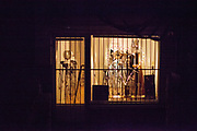 A shopping window with a heart during a night scene in Oberursel-Stierstadt illuminated by the moon.