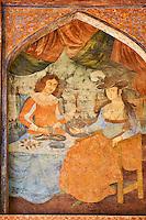 Iran, province d'Ispahan, Ispahan, Palais de Chehel Sotun, peinture murale de la periode Safavide // Iran, Isfahan, Chehel Sotun palace, painting, Safavide era