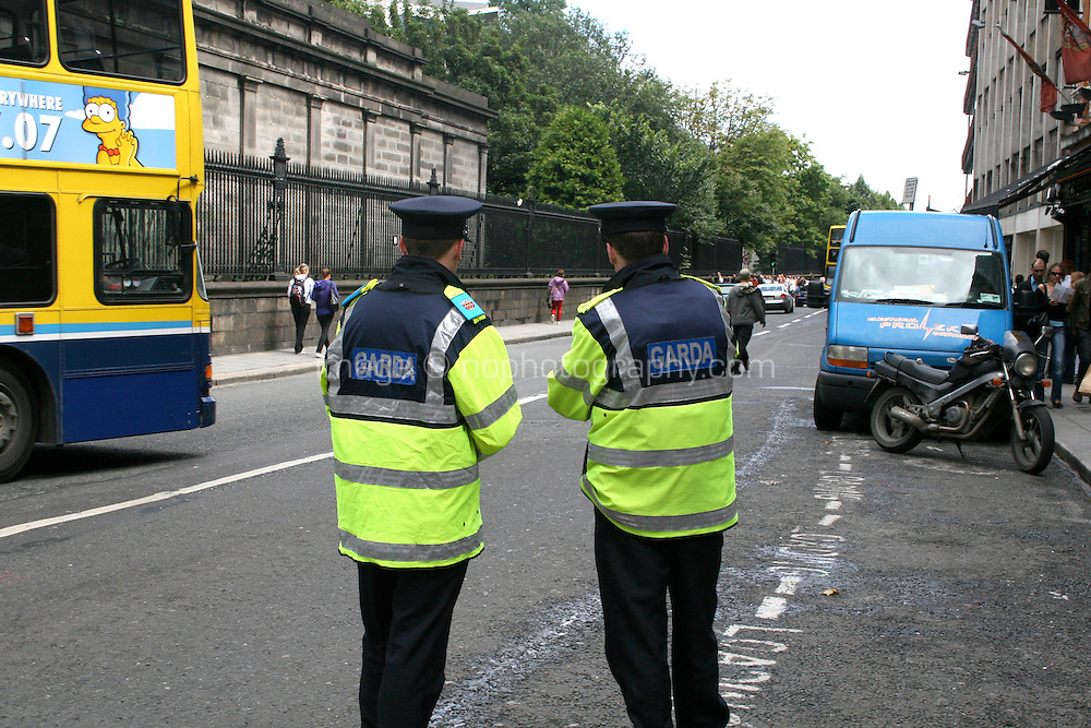 Gardai on Nassau Street Dublin Ireland