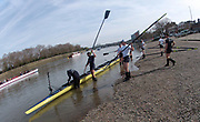 Putney, London,  Tideway Week, OUBC, boating for an afternoon training session. Championship Course. River Thames, OUBC. Boating from Putney Hard [Foreshore] Thames RC.<br />