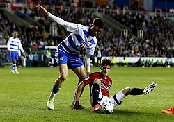 Lucas Piazon of Fulham controls the ball on the floor whilst taking on Tiago Ilori of Reading - Mandatory by-line: Robbie Stephenson/JMP - 16/05/2017 - FOOTBALL - Madejski Stadium - Reading, England - Reading v Fulham - Sky Bet Championship Play-off Semi-Final 2nd Leg