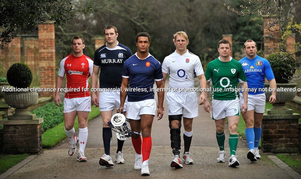 Rugby Union. Six Nations Captains. (L to R) Matthew Rees of Wales, Alastair Kellock of Scotland, Thierry Dusautoir of France, Lewis Moody of England, Brian O'Driscoll of Ireland and Leonardo Ghiraldini of Italy pose during the RBS Six Nations Launch at The Hurlingham Club on January 26, 2011 in London, England. Photo Michael Paler/ Photosport.co.nz