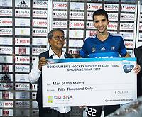 BHUBANESWAR -  Hockey World League finals , Semi Final . Argentina v India. Matias Rey (Arg), player of the match.  COPYRIGHT KOEN SUYK