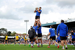 Charlie Ewels of Bath Rugby wins the ball at a lineout during the pre-match warm-up - Mandatory byline: Patrick Khachfe/JMP - 07966 386802 - 13/09/2015 - RUGBY UNION - Memorial Stadium - Bristol, England - Gloucester Rugby v Bath Rugby - West Country Challenge Cup.