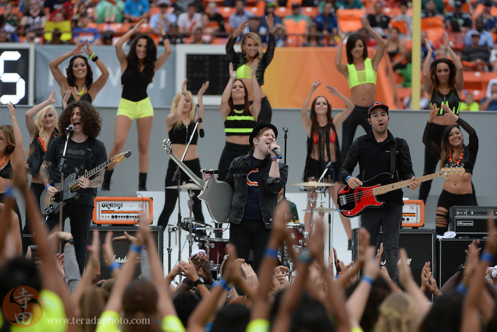 January 26, 2014; Honolulu, HI, USA; Recording artist Fall Out Boy performs during halftime of the 2014 Pro Bowl at Aloha Stadium.