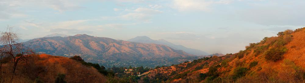 Panoramic of Mount Baldy and San Gabriel Mountains Foothills, Glendora, California