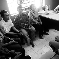 "SIEM REAP, FEBRUARY-28 : group therapy in the Siam Reap mental hospital..The counselors and doctors hope to reach mor people through education.. .The country's entire infrastructure, including the health system, was destroyed during the Khmer Rouge reign and years of civil war. Only in recent years , several non governmental organizations have helped provide mental health services and training in the country in collaboration with local healers..Mental health service is relatively new to Cambodia, but much needed. Before the Pol Pot regime Cambodia only had one mental hospital for the whole population which was destroyed during the years of horror..Modest by western standards, the first mental health clinic for all of Cambodia was set up in Siem Reap by a team from Harvard University in 1994. .This is because many refugees settled down in and around Siem Reap. 102 doctors and counsellers were trained by the Harvard specialists in the late nineties as more than 80 percent of the population was traumatized by the Pol Pot years, and even more during their years in the refugee camps. Studies have shown that most  Cambodians showed PTSD ( Posttraumatic Stress Disorder) symptoms similiar to the Jewish survivors of concentration camps. . .As for the future, Cambodians are sceptical if there'd be a fair trial for the people . It'd be very difficult to bring patients to the capital Phnom Penh to witness . Due to Cambodias underdevelopped infrastructure, many Cambodians are even not aware of the trial preparations. There's no money and also many people do not want to be reminded. says a counselor in Siem Reap:""  it only would open old wounds. People rather suffer in silence"".."