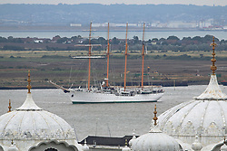 © Licensed to London News Pictures. 30/08/2015.  Photographs of the controversial Chilean tall ship Esmeralda arriving in London last week (26/08/2015). The four masted sail training ship from Chile was used as a prison and torture ship for political opponents of General Pinochet during his rule. Esmeralda's visits are often accompanied by protests and yesterday (Saturday) there was a small protest at West India Docks, Canary Wharf, where she is moored. Pictured here passing Gravesend. Credit : Rob Powell/LNP