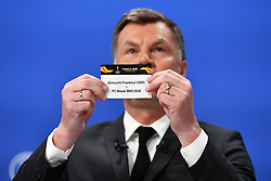 NYON, SWITZERLAND - Friday, July 10, 2020: Former Bayern Munich player Thomas Helmer draws out the card for Eintracht Frankfurt and FC Basel during the UEFA Champions League and UEFA Europa League 2019/20 draws for the Quarter-final, Semi-final and Final at the UEFA headquarters, The House of European Football. (Photo Handout/UEFA)