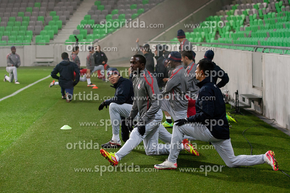 Players of USA during practice session of U.S. National football team 1 day before friendly game against Slovenia, on November 14, 2011 in SRC Stozice, Ljubljana, Slovenia.  (Photo By Vid Ponikvar / Sportida.com)
